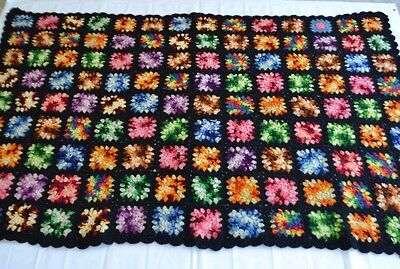 Afghan Throwback Granny Square Crochet Couch Throw Black Variegated Thread