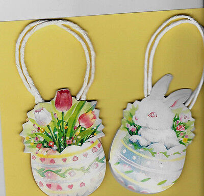 """Easter Decoration Or Bag Easter Eggs, Flowers, Rabbit, Pair are 5.5""""x2.5"""" Older"""