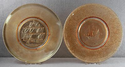 """Estate - Two Old Carnival Glass Plates 8"""" Sailing Ship Motif Marigold Very Pale"""