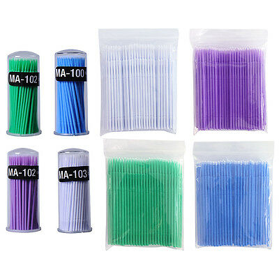 2.0mm 100pcs Disposable Head Micro Brushes Swabs Applicators Eyelash Extension