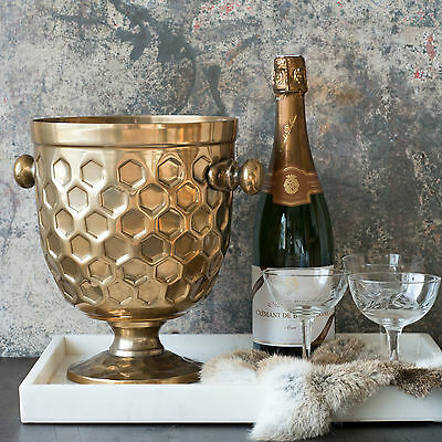 Beautiful CHAMPAGNE / WINE / BOTTLE COOLER - FINISHED IN BRASS COLOUR - 26 cm H