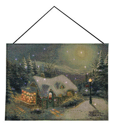 Silent Night Christmas Fiber Optic Tapestry Bannerette Wall Hanging ~ Kinkade
