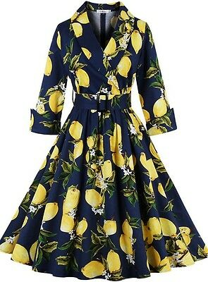 Women's Classic Pear Floral Vintage 1950s Style Retro Formal Party Swing Dress
