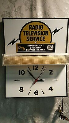 Radio Television Service Light Up Advertising Display Sign and Clock • Dealer •