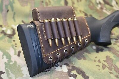 Leather Rifle buttstock cartridge holder with leather cheek rest, Hunters Gift