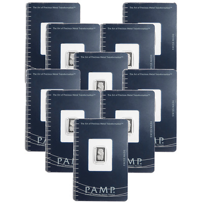 Lot of 10 - 1 Gram Pamp Suisse Platinum Bar .9995 Fine Fortuna