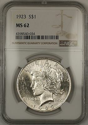 1923 Silver Peace Dollar $1 NGC MS-62 (Better Coin) (14c)