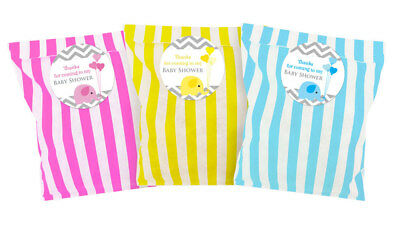 Baby shower party bags & 60mm stickers, Blue, Pink or Yellow - Elephant x 24