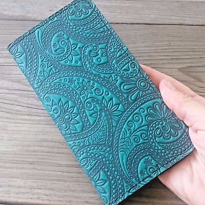 Paisley 100% Leather Checkbook Holder Cover Teal-Blue Oberon Design CKM53