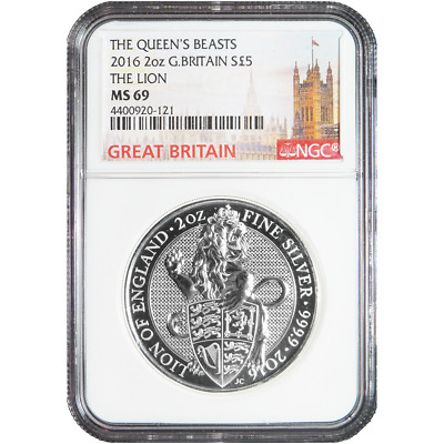 2016 U.K. 5 Pound Silver Queen's Beast Lion .9999 2 oz NGC MS69