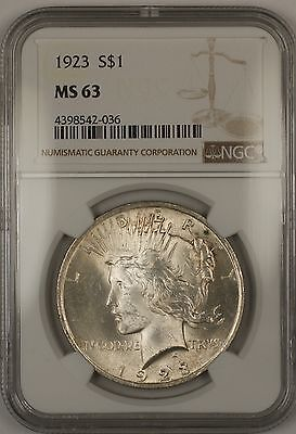 1923 Silver Peace Dollar $1 Coin NGC MS-63 (14c)