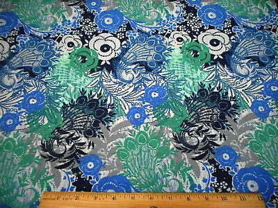 Floral Fabric By The Yard Blue Teal Navy White Gray Flowers Hearts