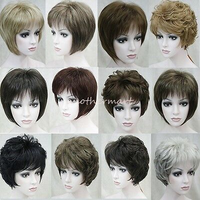 UK Fashion Lady Short Hair Wig Pixie Straight Curly Cropped Boycut Full Wigs mk2
