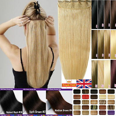 Silky One Piece Clip In Remy Long Human Hair Extensions 3/4 Full Head Weft M456