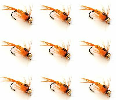9 X Trout Fishing Flies ORANGE ARC  Barbed Barbless HOOKS