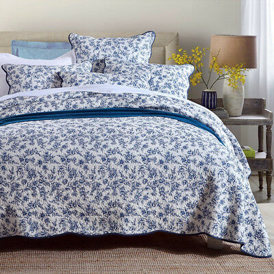 Luxury 100% Cotton Coverlet / Bedspread Set Queen King Size Bed 230x250cm Blue