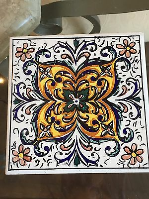 """Vintage Vibrant Hand Painted Ceramic Tile Made In Spain 5 7/8"""""""