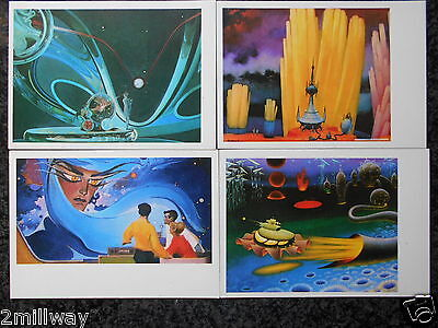 Russia Postcards - Set of 10 - Artist Futuristic Space - 1976 - All Russian Text