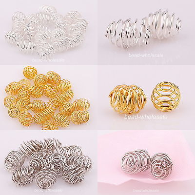 Free Shipping  50pcs Silver/Golden Plated Rotation Pattern Ball Spacer Beads