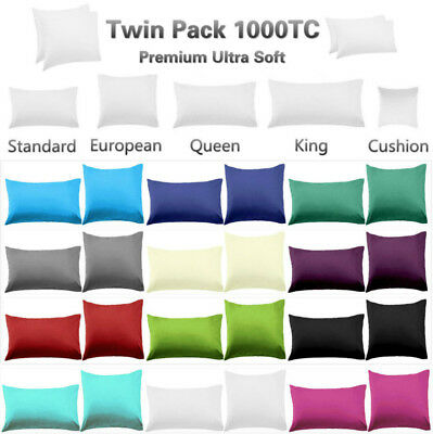 2 x European / Standard Size Pillowcases Queen / King Size Pillowcases - 1000TC