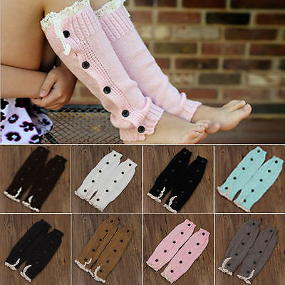 Warm Kids Girls Trendy Knitted Button Lace Leg Warmers Trim Boot Cuffs Socks NEW