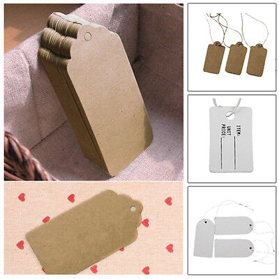 Wholesale 100/500Pcs Kraft Paper Hang Tags String Punch Label Price Gift Cards