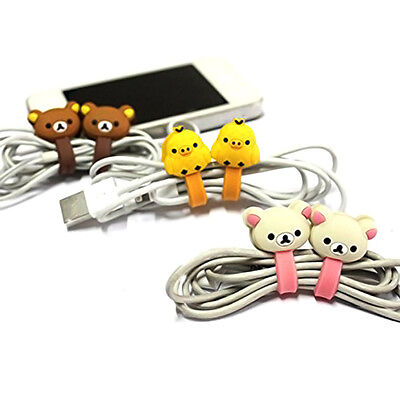 1 Pair Animal Earphone USB Charger Holder Wrap Cord Wire Cable Organizer Cute