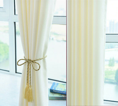 Quality Eyelet Curtain Linen Velvet Curtians Thermal Insulated Cream White Ivory