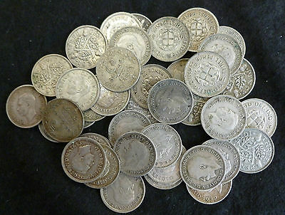 Silver Threepences Bulk Lot Of 40 Presentable 3d's 1920's - 1940's .500 fine