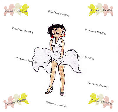 Betty Boop / White Dress 10 X 7cm EMBROIDERED IRON/SEW ON FABRIC PATCH APPLIQUE