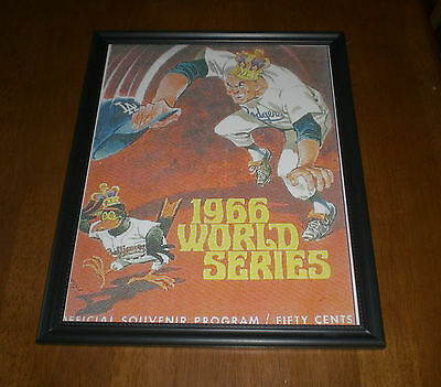 1966 L.A.  DODGERS vs BALTIMORE ORIOLES FRAMED WORLD SERIES PROGRAM PRINT