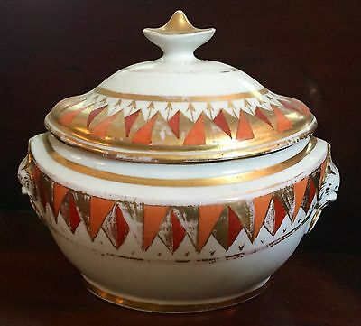 Antique Coalport Porcelain Sucrier 1805 19th century Harlequin Sugar Bowl Box