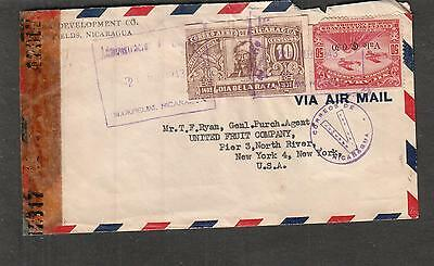 Nicaragua WWII examiner 12317 censor cover Bukra Development Co Bluefields to NY