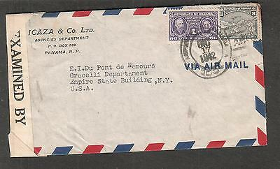 Republic of Panama WWII examined by 7365 censor cover Icaza Co Ltd to DuPont NY