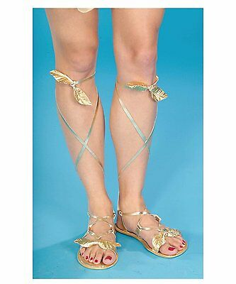 Egyptian Roman Greek Goddess Sandals Adult Costume Accessory, One Size, Gold