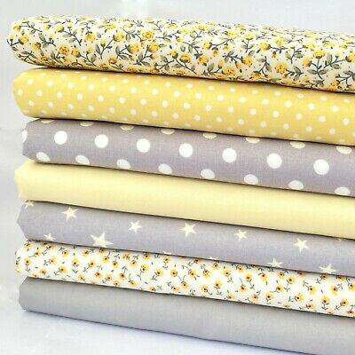 7 fat quarter fabric  bundle grey & lemon baby  mix 100 % cotton poplin
