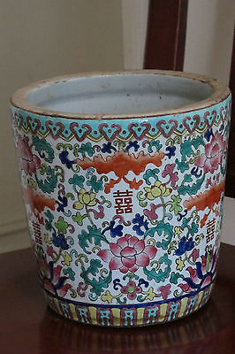 Large Antique Chinese Famille Rose Porcelain Flower Pot Jardiniere Hand Painted