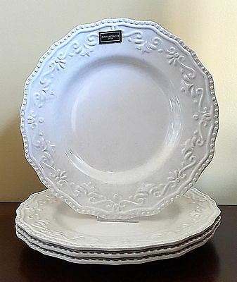 NEW Cynthia Rowley White Floral Melamine Dinner Plates Set of 4