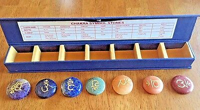 "Chakra Sanskrit Symbols on Gemstones, 12"" Boxed Set; Healing, Reiki, Meditation"