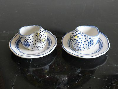 Tiffany & Co. Pair of Egg Cup Holders Chick on Plate