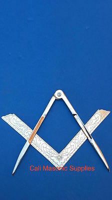 """Masonic Lodge Ceremonial accessories  Square and Compass Silver 4.5"""" For Bible"""