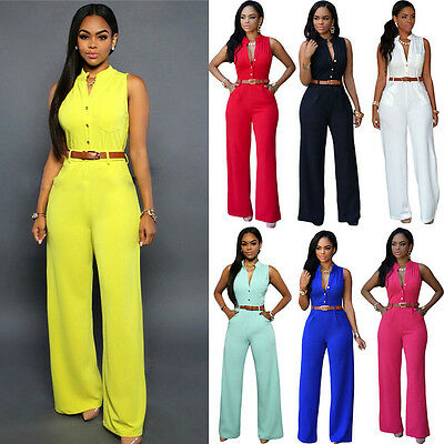 Women Summer Sleeveless Party Jumpsuit Wide-Leg Trousers Playsuit