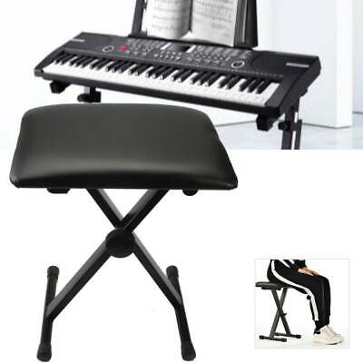 Adjustable Height 18-20 inch Folding Piano Keyboard Bench Seat Chair Black