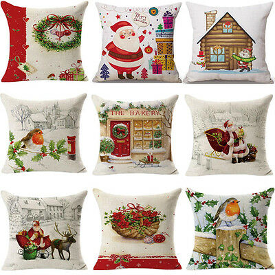 Christmas Home Decoration Pillow Case Sofa Car Bed Waist Throw Cushion Cover UK