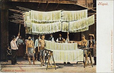 Men Working, Macaroni Factory. Napoli, Italy. Pre-1908. Food, Occupations.