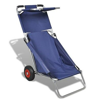 New Beach Trolley Cart Chair Table 3 in 1 Transport Wheel Folding Portable Blue