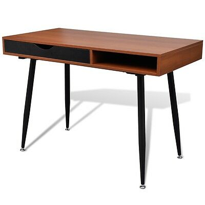 Brown 2 Drawer Computer Desk Office Student Laptop Table Home Storage Work MDF