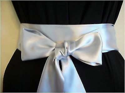 """2.5""""x 85"""" Silver Grey Satin Self Tie Bow Sash Belt For Bridal Or Update Dress"""