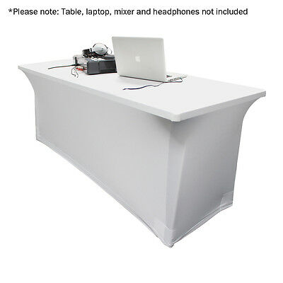 LEDJ 4FT White Lycra Table Cover Scrim DJ Venue Decor