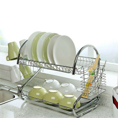 Kitchen Dish Cup Drying Rack Holder Sink Drainer 2 Tier Dryer Stainless Steel US